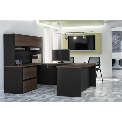 Pending - Bestar U-Desk Connexion U-Shaped Executive Desk with Lateral File Cabinet and Hutch - Available in 3 Colors