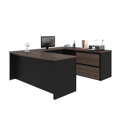 Pending - Bestar U-Desk Connexion U-Shaped Executive Desk with Lateral File Cabinet - Available in 3 Colors