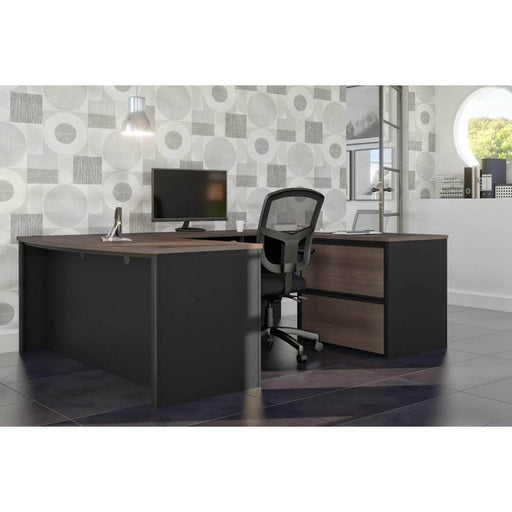 Pending - Bestar U-Desk Connexion U-Shaped Executive Desk with Lateral File Cabinet - Available in 3 Colours