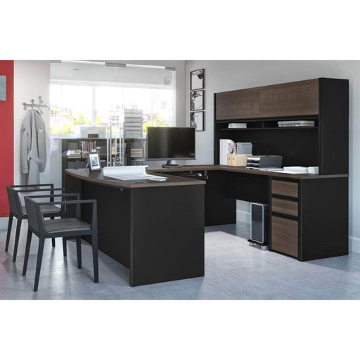 Pending - Bestar U-Desk Connexion U-Shaped Executive Desk with Pedestal and Hutch - Available in 3 Colours