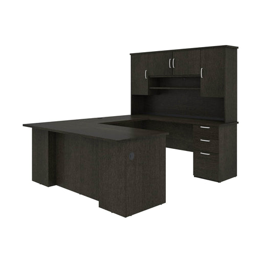 Pending - Bestar U-Desk Deep Grey Murzim U or L-Shaped Executive Desk with Hutch - Available in 2 Colours