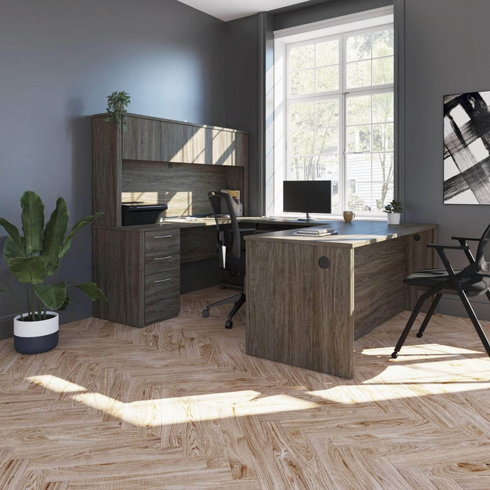 Pending - Bestar U-Desk Embassy U-Shaped Executive Desk with Pedestal and Hutch - Available in 2 Colors