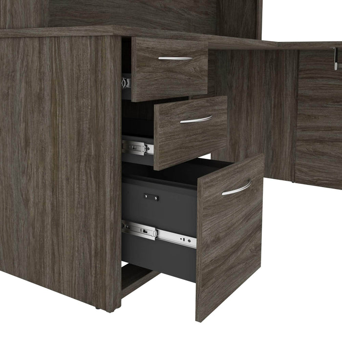 Pending - Bestar U-Desk Embassy U-Shaped Executive Desk with Pedestal and Hutch - Available in 2 Colours
