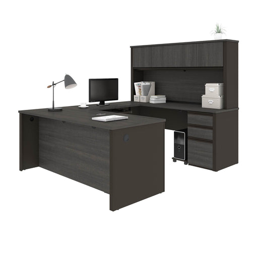 Pending - Bestar U-Desk Prestige + U-Shaped Executive Desk with Hutch and 2 Pedestals - Available in 3 Colours