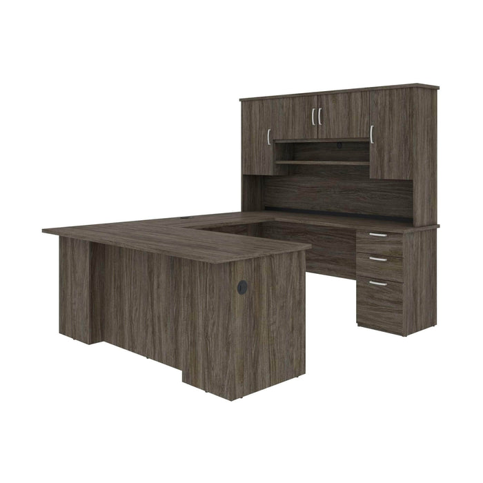 Pending - Bestar U-Desk Walnut Grey Murzim U or L-Shaped Executive Desk with Hutch - Available in 2 Colours