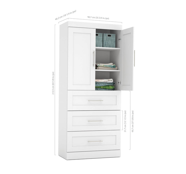 Pending - Bestar Wardrobe Pur 36W Wardrobe with 3 Drawers - Available in 2 Colors