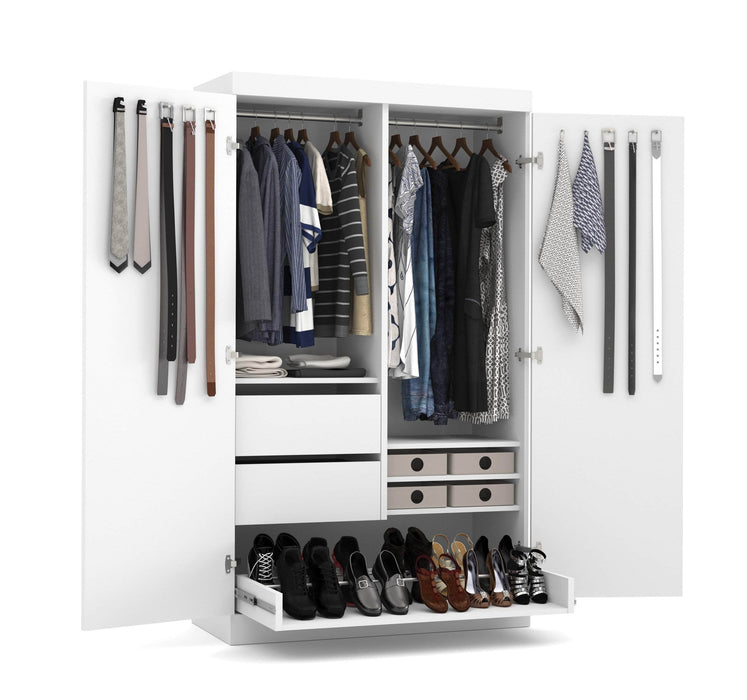"Pending - Bestar Wardrobe Pur 49"" Wardrobe with Pull-Out Shoe Rack - Available in 2 Colours"