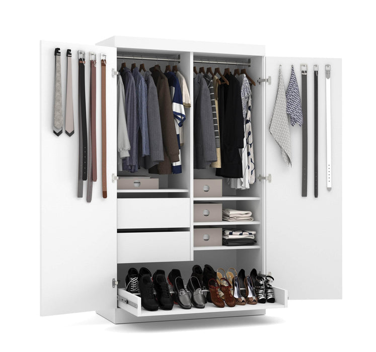 "Pending - Bestar Wardrobe White Pur 49"" Wardrobe with Pull-Out Shoe Rack - Available in 2 Colours"