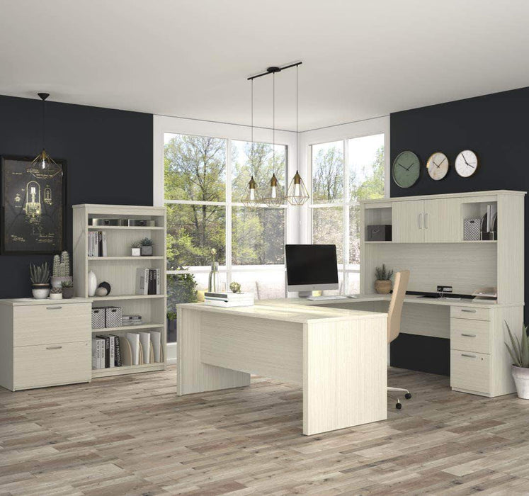 Pending - Bestar White Chocolate Logan U-Shaped Desk with Hutch, Lateral File Cabinet, and Bookcase - Available in 3 Colors