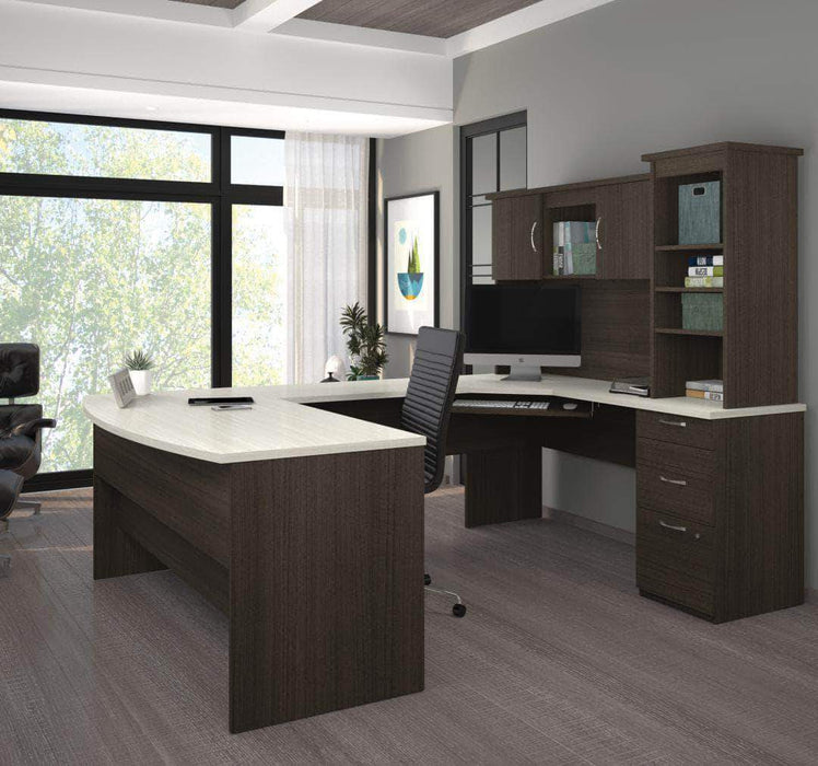 Pending - Bestar White Chocolate Outremont U-Shaped Desk with Pedestal and Hutch - Available in 2 Colors