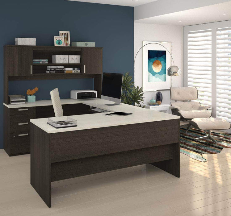 Pending - Bestar White Chocolate Ridgeley U-Shaped Desk with Pedestal and Hutch - Available in 2 Colours