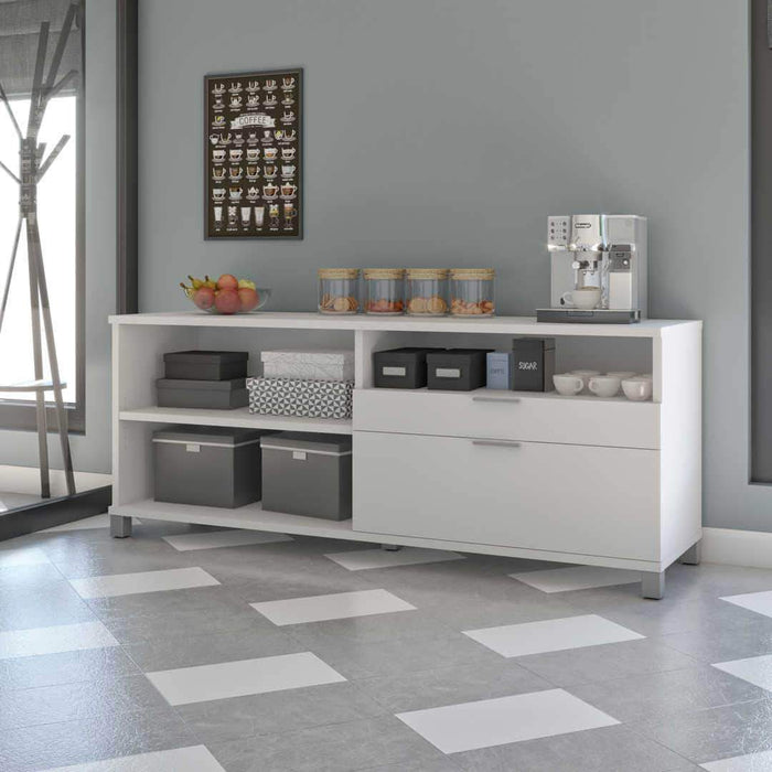 Pending - Bestar White Credenza with 2 Drawers - Available in 5 Colors