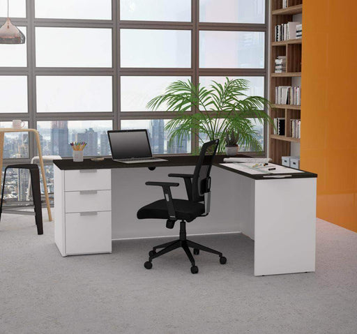 Pending - Bestar White & Deep Grey L-Shaped Desk with Pedestal - Available in 2 Colours