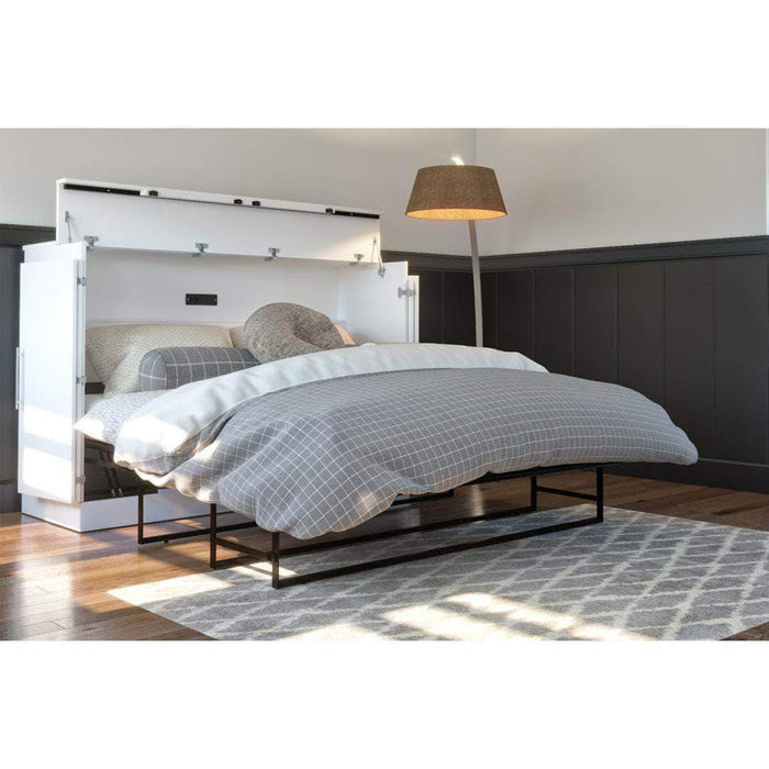 Pending - Bestar White Nebula Queen Murphy Cabinet Bed with Mattress - Available in 2 Colours