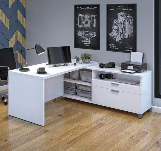 Pending - Bestar White Pro-Linea L-Shaped Desk - Available in 3 Colours
