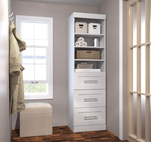 "Pending - Bestar White Pur 25"" Storage Unit with 3 Drawers - Available in 3 Colours"