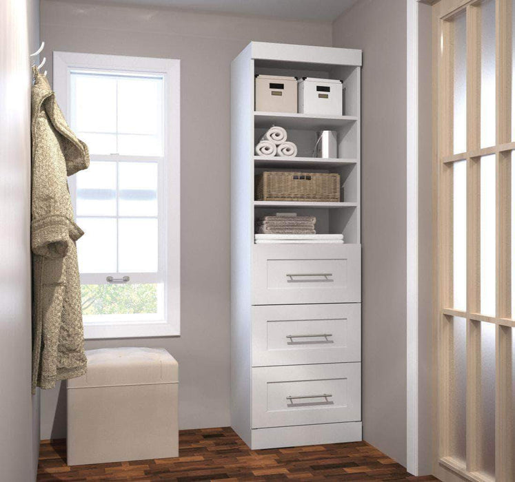 "Pending - Bestar White Pur 25"" Storage Unit with 3 Drawers - Available in 3 Colors"