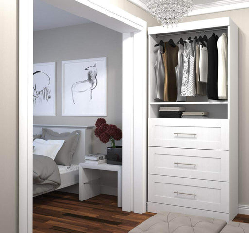 "Pending - Bestar White Pur 36"" Storage Unit with 3 Drawers - Available in 3 Colors"