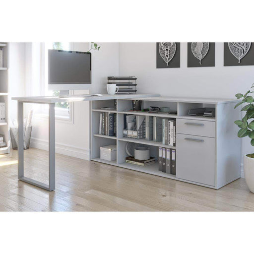 Pending - Bestar White Solay L-Shaped Desk - Available in 4 Colours