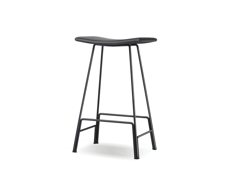 Mobital Bar Stool Black Canaria Leather Bar Stool With Black Powder Coated Steel - Available in 2 Colors