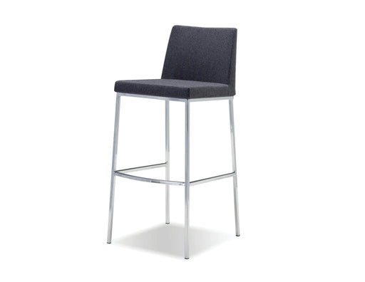 Mobital Weston Bar Stool Dark in Grey Cashmere with Chrome Frame (Set of 2)