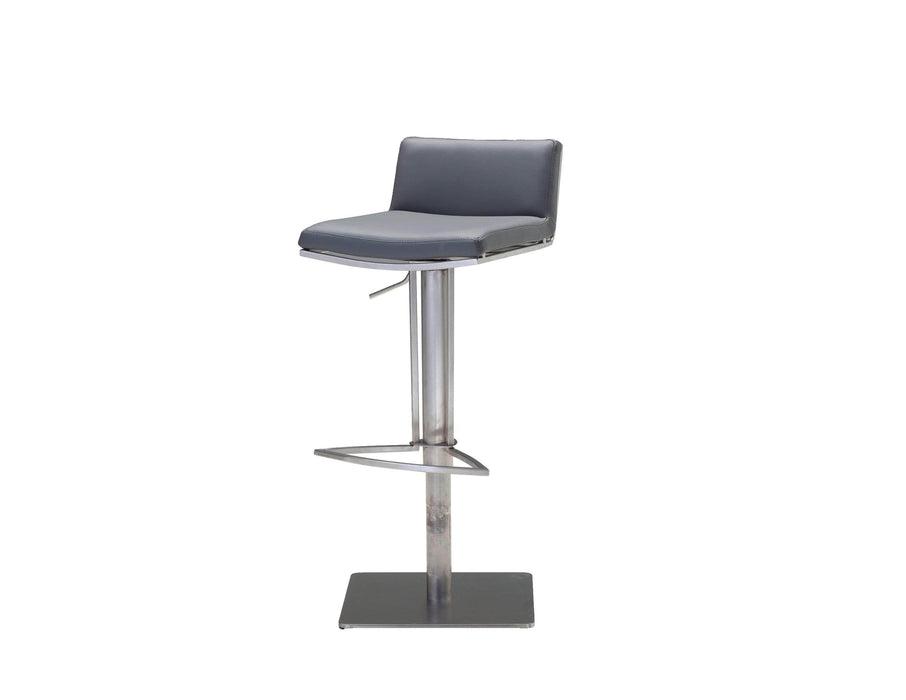 Mobital Bar Stool Grey Bond Leatherette Hydraulic Bar Stool With Brushed Stainless Steel - Available in 2 Colors