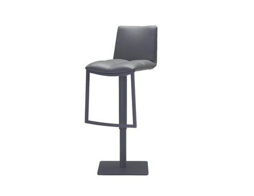 Mobital Bar Stool Grey Dove Hydraulic Bar Stool Grey Leatherette With Grey Powder Coated Steel Frame And Footrest