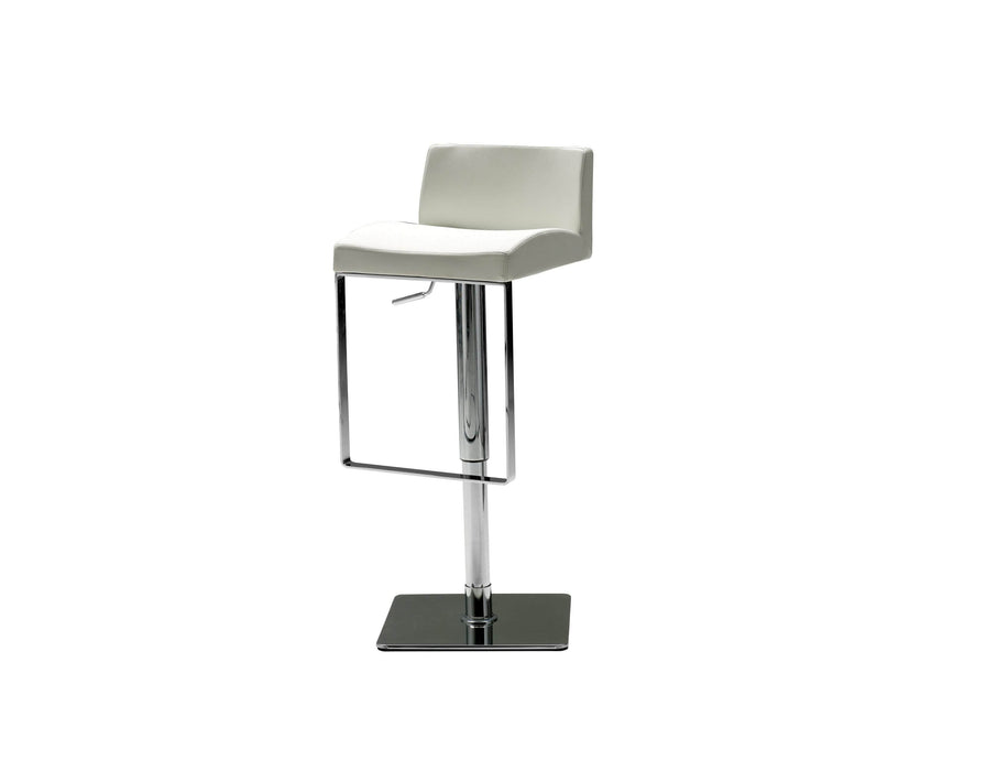 Mobital Bar Stool White Astro Hydraulic Bar Stool With Polished Stainless Steel - Available in 2 Colors