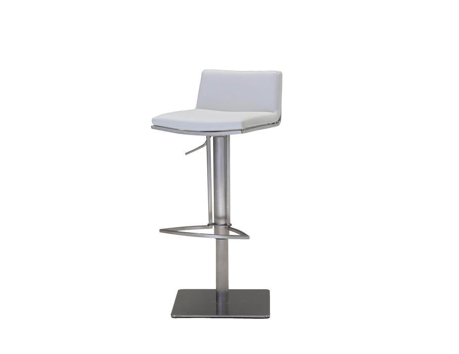 Mobital Bar Stool White Bond Leatherette Hydraulic Bar Stool With Brushed Stainless Steel - Available in 2 Colors