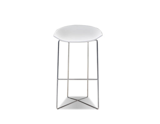 Mobital Bar Stool White Paraiso Bar Stool White Solid Surface With Polished Stainless Steel Set Of 2