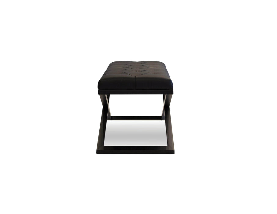 "Pending - Mobital Bench Black Crosstown 48"" Wide Large Bench Black Leatherette With Matte Black Powder Coated Steel"