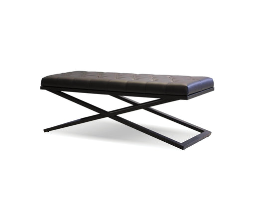 "Mobital Crosstown 48"" Wide Large Bench in Black Leatherette with Matte Black Powder Coated Steel"
