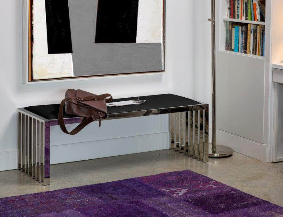 Mobital Kade Bench in Black Leatherette with Polished Stainless Steel