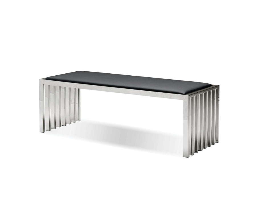 Pending - Mobital Bench Black Kade Bench Black Leatherette With Polished Stainless Steel