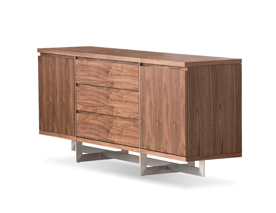 Mobital Buffet Natural Walnut Remi Buffet With Brushed Stainless Steel - Available in 2 Colors