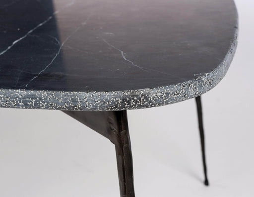 "Mobital Coffee Table Black Flint 14"" Small Coffee Table Black Spanish Nero Marquina Marble With Distressed Forged Black Iron Legs"