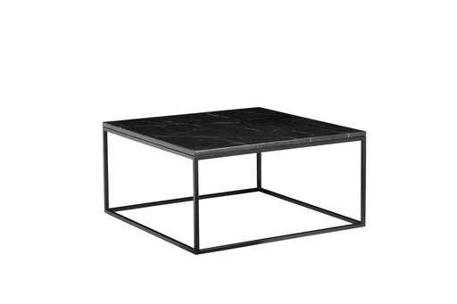 "Mobital Coffee Table Black Onix 30"" Square Coffee Table Black Nero Marquina Marble With Black Powder Coated Steel"