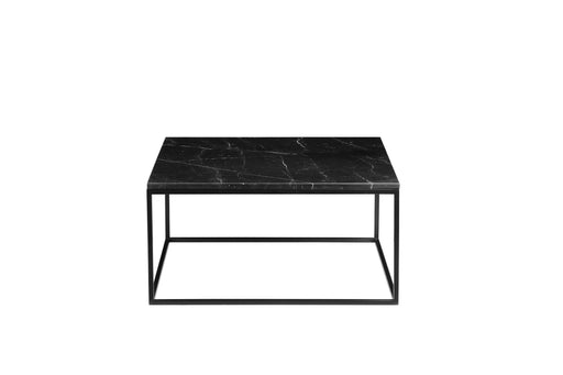 "Mobital Onix 30"" Square Coffee Table with Black Nero Marquina Marble Top and Black Powder Coated Steel"