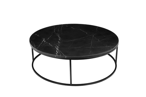"Mobital Coffee Table Black Onix 39"" Round Coffee Table Black Nero Marquina Marble With Black Powder Coated Steel"
