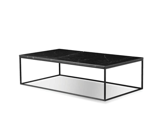 Mobital Onix Rectangular Coffee Table with Black Nero Marquina Marble Top and Black Powder Coated Steel