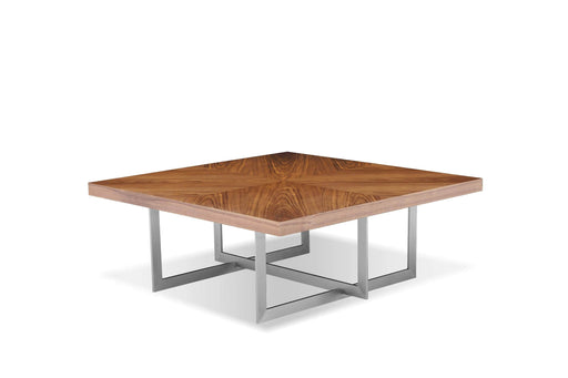 "Mobital Remi 39"" Square Coffee Table in Natural Walnut with Brushed Stainless Steel"