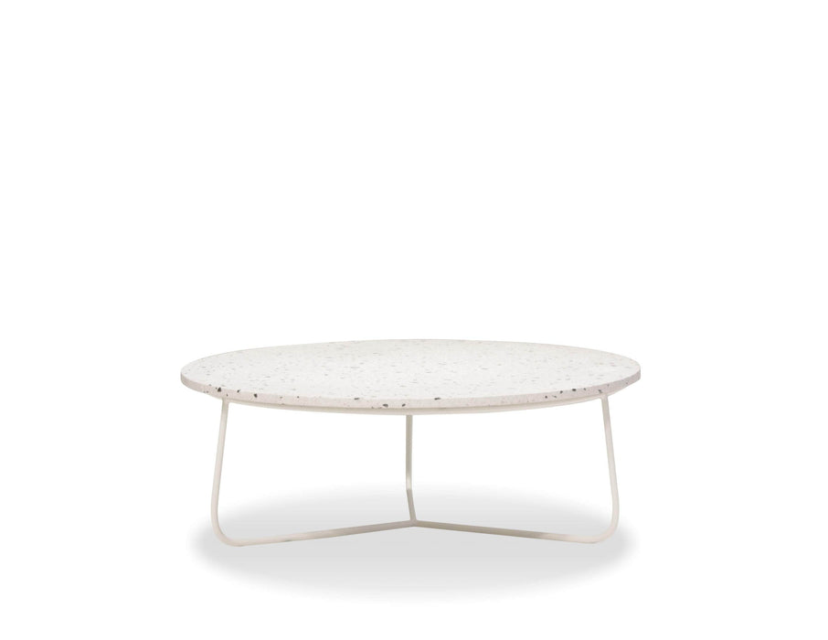 Mobital Rizzo 36 Inch Diameter Round Coffee Table with White Terrazo Marble Top and White Base