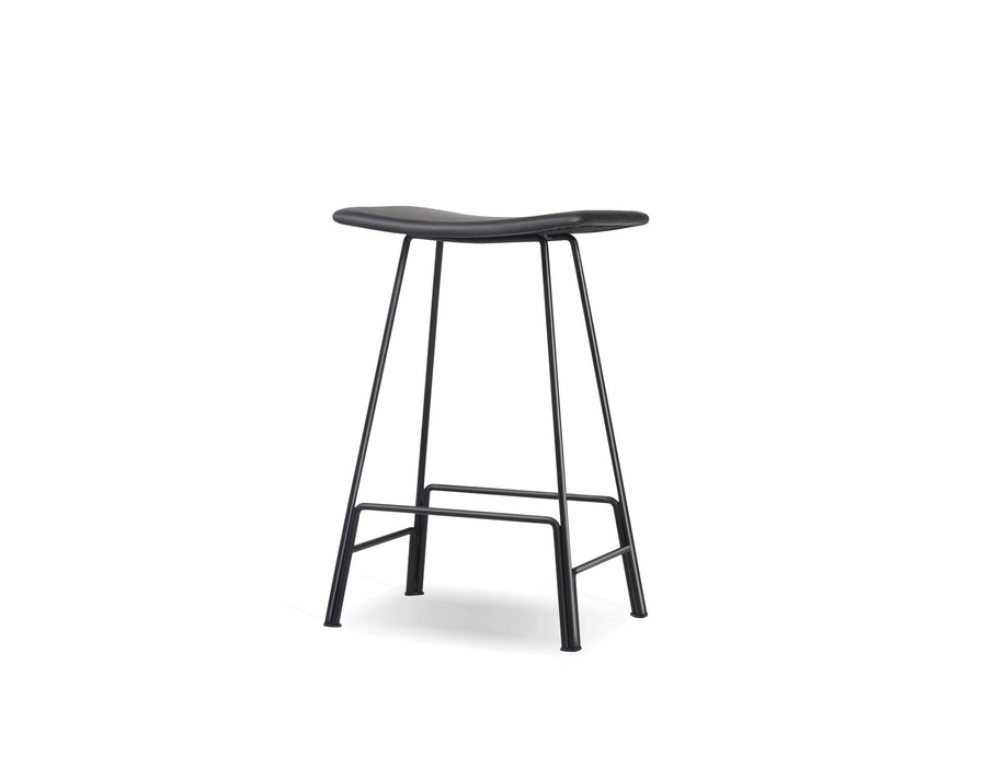 Mobital Canaria Top Grain Leather Counter Stool with Black Powder Coated Steel