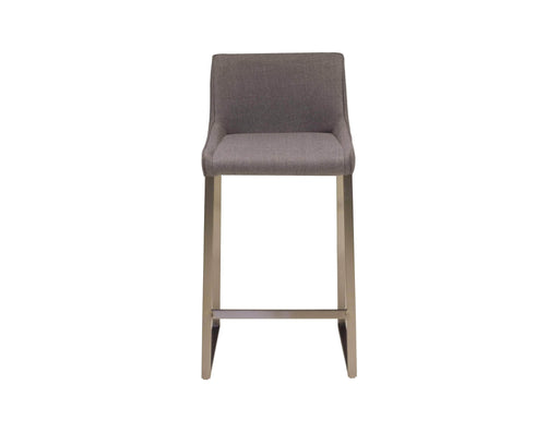 Mobital Bennett Counter Stool In Light Grey Fabric With Brushed Stainless Steel
