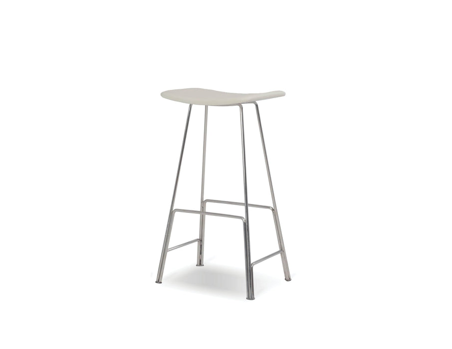 Mobital Counter Stool White Canaria Leather  Counter Stool With Black Powder Coated Steel - Available in 2 Colors