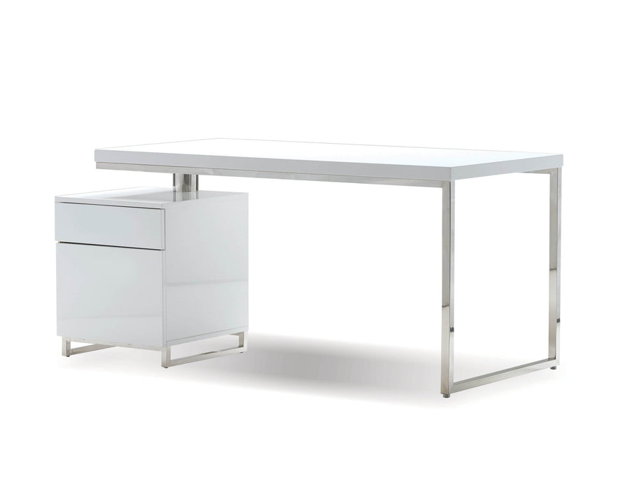 "Mobital Span 63"" Reversible Desk in High Gloss White with Brushed Stainless Steel"