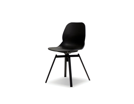 Mobital Petal Dining Chair in Black with Black Powder Coated Steel (Set of 4)