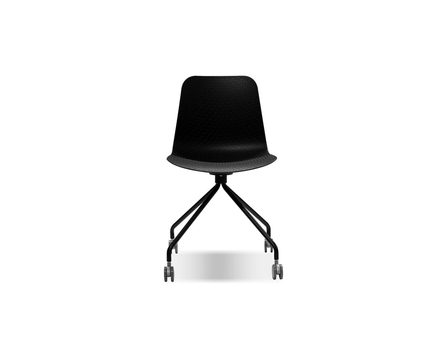 Mobital Trask Dining Chair in Black Polypropylene with Chrome Legs and Castors (Set of 2)