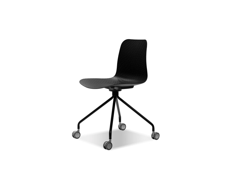 Mobital Dining Chair Black Trask Dining Chair Black Polypropylene With Chome Legs And Castors Set Of 2