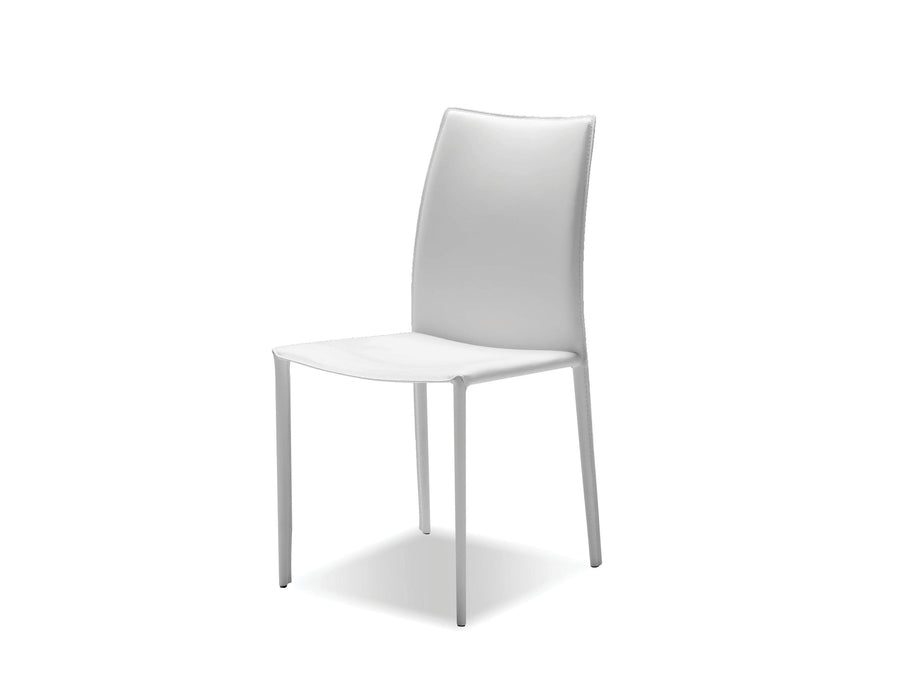 Mobital Dining Chair White Zak Full Leather Wrap Dining Chair Set Of 2 - Available in 3 Colors
